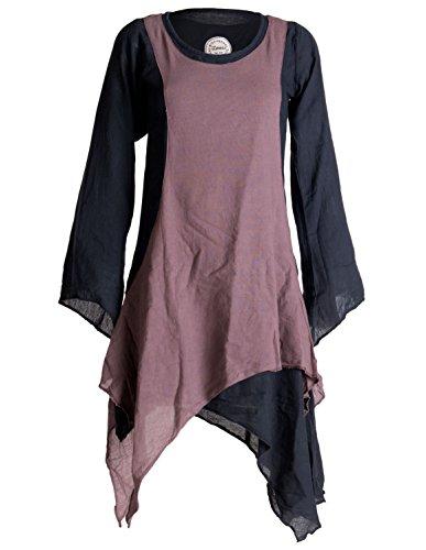 Vishes - Alternative Bekleidung - Langärmliges Zipfeliges Lagenlook Kleid/Tunika aus handgewebter Baumwolle schwarz-braun 42-44