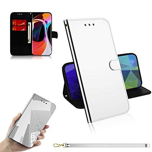 Snow Color Xiaomi Mi 10 Hülle, Premium Leder Tasche Flip Wallet Case [Standfunktion] [Kartenfächern] PU-Leder Schutzhülle Brieftasche Handyhülle für Xiaomi Mi10 / Mi 10 Pro 5G - COTX030534 Silber