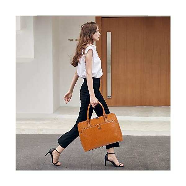 CLUCI Briefcase for Women Oil Wax Leather 15.6 Inch Laptop Slim Business Large Capacity Ladies Shoulder Bags 2