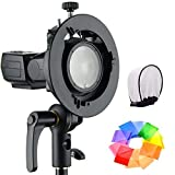 Godox S2 Speedlite S-Type Bracket Bowens Mount, for Godox V1 AD200Pro AD400Pro AD200 V860II TT685 TT600 TT350, Precise Tilt Control, Large Handle, Integrated Umbrella Mount with Pergear Diffusers