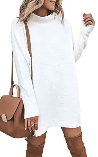 ECOWISH Damen Rollkragen Strickkleid Einfarbig Pullover Kleid Casual Lose Herbst Kleid Weiß L