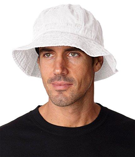 Adams Vacationer Pigment Dyed Twill Bucket Cap (White) (XL)