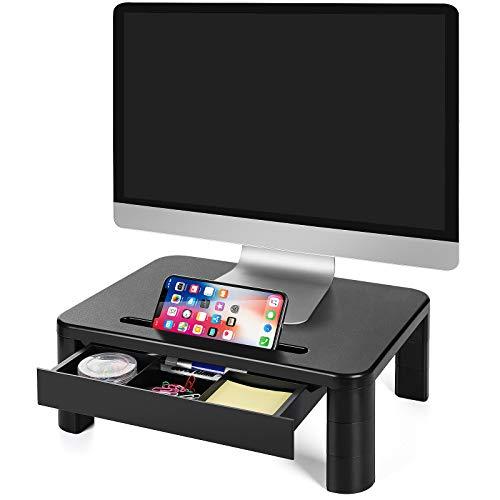 LORYERGO Soporte de Monitor con 3 Alturas Ajustables Monitor Elevador Mesa con Organizador para Almacenamiento, para Monitor de PC Ordenador portátil Impresora de Oficina Alivia el Dolor de Cuello