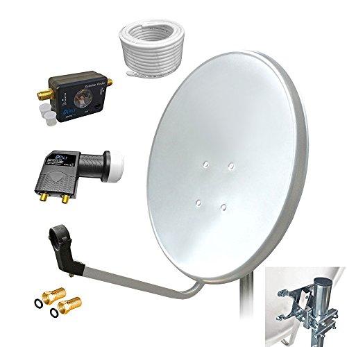 60cm HD Sat Anlage Twin LNB + 10m Koaxialkabel 135dB + Satfinder + 2 F-Stecker Digital 2 Teilnehmer Antenne Weiss UHD 4K