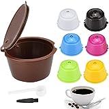 SNAGAROG 7 cápsulas de café reutilizables para Dolce Gusto con cuchara de plástico/cepillo de limpieza para el hogar, la cocina, la oficina, al aire libre (7 colores)