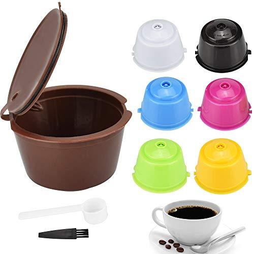 SNAGAROG 7 Stück Wiederverwendbare Nachfüllbare Kaffeekapseln Ersatz Kaffee Kapseln, mit Löffel und Bürste, Dolce Gusto Filterkaffeekapsel für Küche, Büro, Outdoor (7 Farben)
