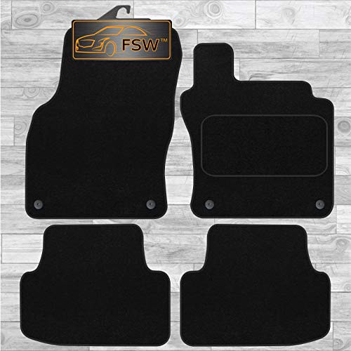 FSW - Tailored Car Mats & Carpets - Golf 2013 Onwards MK7   - Black Carpet - Anti Slip Mat - Non Slip Car Floor Mat, Fitted With Clips & Granulated Backing - 4 Pc Floor Mat Only