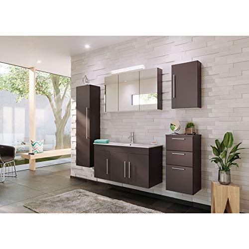 badmöbelset Elegante Badezimmer in 4 verschiedenen Farbvarianten mit Waschplatz und Keramik-Waschbecken (Anthrazit)