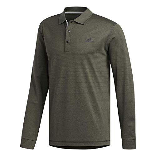 adidas Long Sleeve Thermal Polo, Hombre, Verde, M