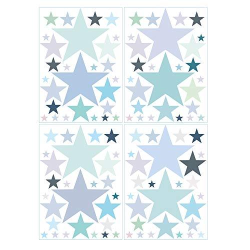Wandtattoo 100 Sterne in zarten Pastellfarben Kinderzimmer Wandsticker Aufkleberset/Pastell-blau /