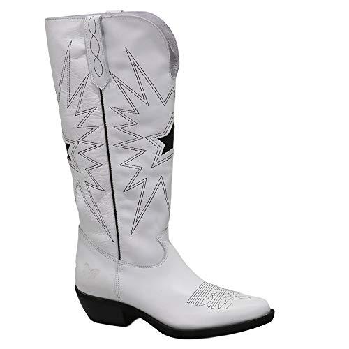 Felmini - Damen Schuhe - Verlieben EL PASO C385 - Cowboy & Biker Stiefel - Echtes Leder - Weiß - 39 EU Size