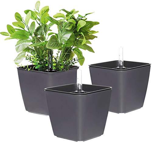 T4U 13cm Plastik Selbstbewässerung Blumentopf mit Anzeiger Eckig Anthrazit 3er-Set, Selbstwässernde Wasserspeicher Pflanzgefäße Klein für Zimmerpflanzen