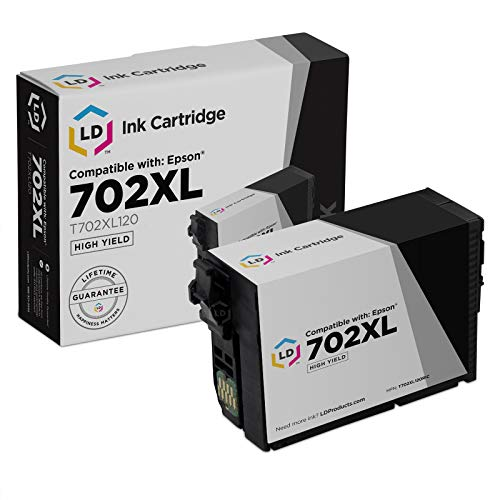 LD Remanufactured Ink Cartridge Replacement for Epson 702XL T702XL120 High Yield (Black)