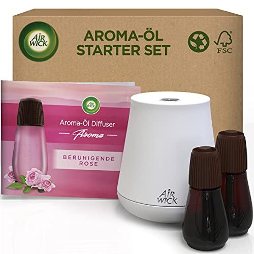 Air Wick Aroma-Öl Flakon Starter Set - Diffuser mit 2 Nachfüllern - Aromatherapie - Duft: Beruhigende Rose - Floraler Raumduft mit ätherischen Ölen - 2 x 20 ml Öl + Gerät in Weiß