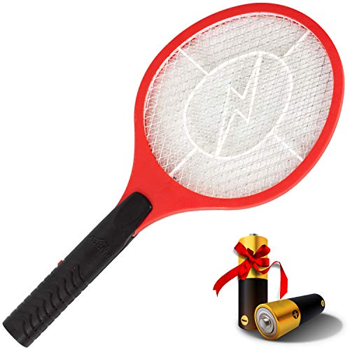 AsisNai Bug Zapper Racket Electric Fly Swatter Mosquito Racket - 3000 Volt Wasp Killer Mosquito Zapper & Electric Bug Zapper. from Durable Materials Fly Killer Indoor & Outdoors Electric Fly Zapper
