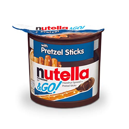 Nutella and Go Snack Packs, Chocolate Hazelnut Spread with Pretzel Sticks, Perfect Christmas Stocking Stuffers and Bulk Snacks for Kids' Lunch Boxes, 1.9 Ounce, Pack of 12