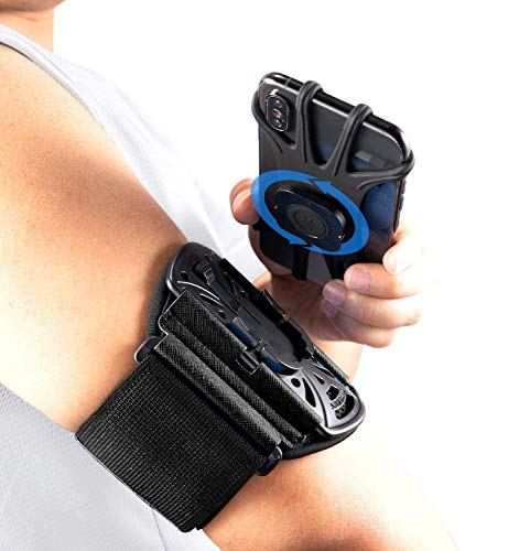 """Runner Arm Case, iPhone 11/iPhone X/Samsung/4-6.5"""" Smartphones Running Armband, Sports Arm Band 360°Rotatable & Detachable Cell Phone Holder……"""