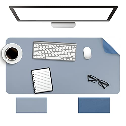 Alfombrilla de escritorio antideslizante, alfombrilla de ratón, impermeable, de PVC, de cuero, ultrafina, grande, alfombrilla de escritura, fácil de limpiar, para oficina, hogar, decoración (azul)