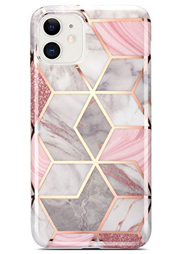 Coolwee Compatible with iPhone 12 Pro Case, Compatible with Apple iPhone 12 Marble Slim Fit Bling Glitter Sparkle Bumper Case Cute Design Glossy Finish Soft TPU Girls Women Protective Cover Rose Gold
