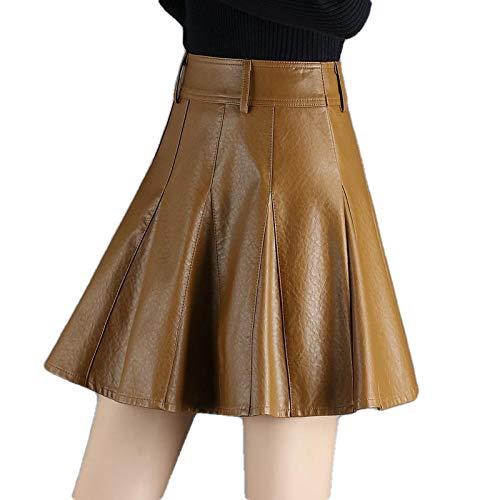 ERTYUIO Falda Corta Mujer Cuero Faldas Cortas para Mujeres Jóvenes De Talla Grande S-5Xl Falda Falda Plisada Sexy De Una Línea