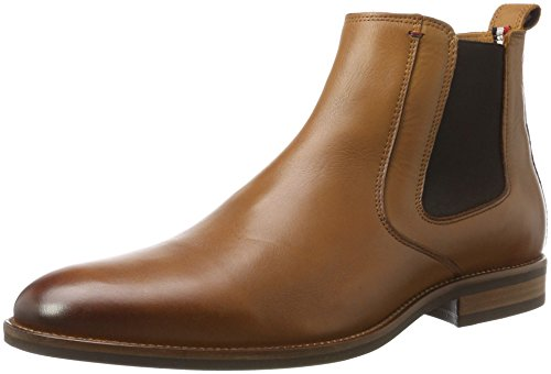Tommy Hilfiger Herren Essential Leather Chelsea Boots, Braun (Winter Cognac), 43 EU