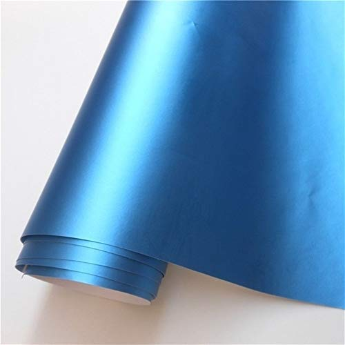 N\A Auto-Aufkleber 14 Farben matt satiniert Chrom-Vinylverpackungs-Film-Aufkleber-Abziehbild Blase Car Wrapping Film Selbstklebendes Band (Color Name : Aluminum Blue, Size : 152X40 cm)