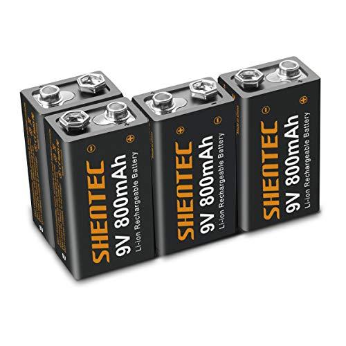 4 Piezas Shentec Li-Ion 800mAh 9V Pilas Recargables Alta Capacidad para Alarmas, Dispositivos Médicos, Juquetes y Relojes