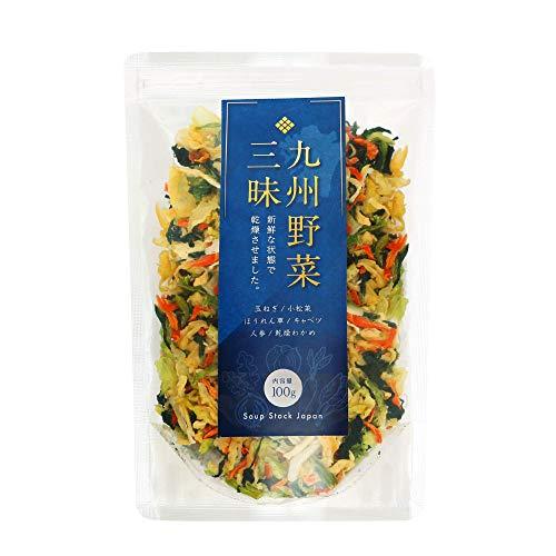 九州野菜三昧 乾燥野菜 国産 無添加 野菜5種類+わかめ ミックス 100g (1袋) 味噌汁の具 ラーメンの具 カップ麵の具 インスタントラーメン スープ フリーズドライ 非常食