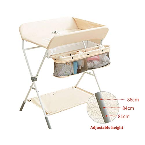 Windeltisch Höhenverstellbarer Wickeltisch für Babys, Tragbarer Wickeltisch-Organizer mit Aufbewahrungskorb, Zusammenklappbar (Color : Beige)