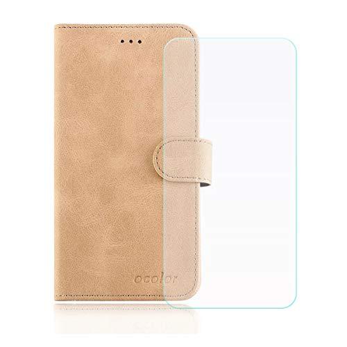 YZKJ Cover für Leagoo T5c Hülle, Flip PU Ledertasche Handyhülle Wallet Tasche Schutzhülle Hülle mit Card Slot & Ständer + Panzerglas Schutzfolie für Leagoo T5c (5.5