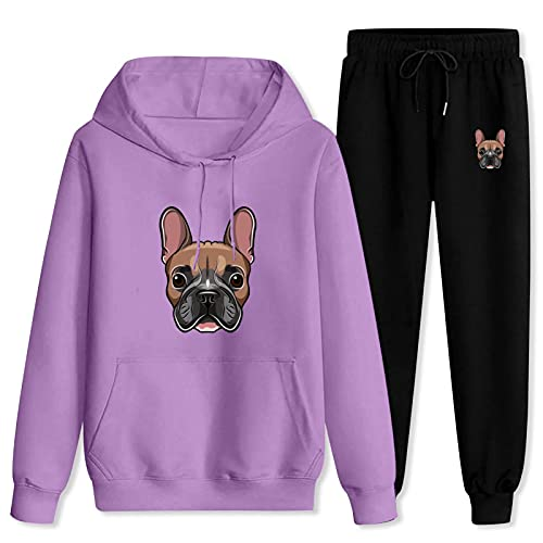 Jsmllia Men's Tracksuit French-Bulldog Hoodie Sweatpants,3D Print Pullover Hoodie for Men with Pockets Large Purple and Black