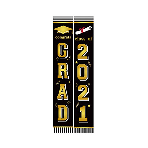 YIPON Graduation Banner,Durable Oxford Cloth Hanging Banners Graduation Curtain Backdrop Background Couplet for Indoor Outdoor Party Supplies