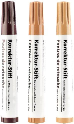 AGT Korrekturstift: Korrektur-Stift für Möbel aus Holz & Furnier, 3er-Set (Holzkorrekturstifte)