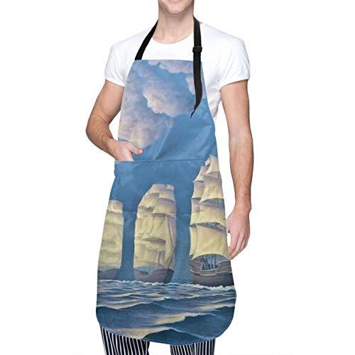 N\A Delantal de Cocina Impermeable, Babero de Cocina Ajustable para Chef, velero, Barco de Vela, Cuello, Cintura, Lazo, Bolsillo Delantero de Canguro