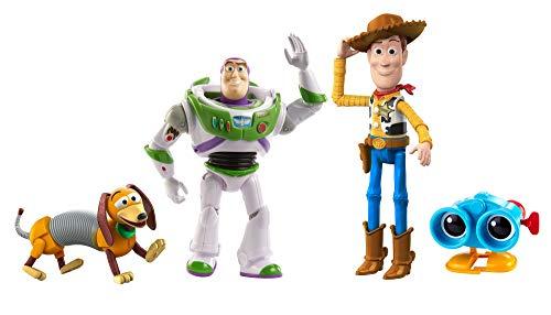 Toy Story Baú de Brinquedos do Andy, Conjunto de 4 Figuras de Ação Woody, Binóculos Lenny, Cachorro Slinky e Buzz Lightyear, Mattel