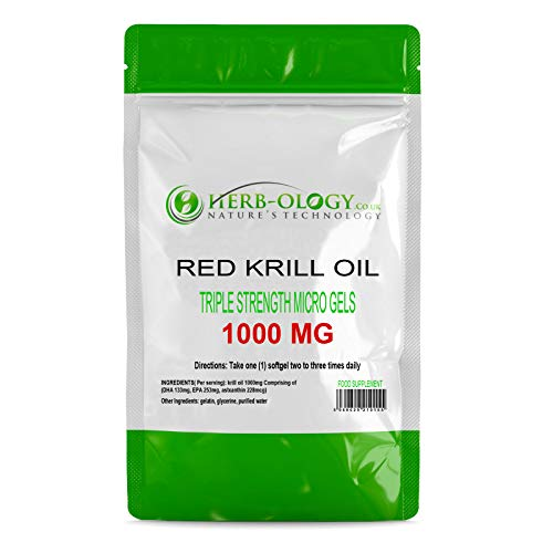 Herb-ology Red Krill Oil Capsules | 60 High Strength Fish Oil Supplement - 1000mg per Capsule | Source of Omega 3 Fatty Acids, DHA & EPA | Fast Absorption SoftGel Supplement