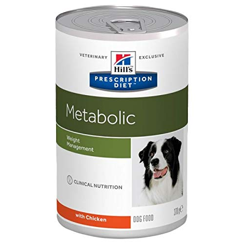 Hills Prescription Diet Canine Metabolic Weight Management, alimentos enlatados para perros húmedos, 370 g – Pollo (paquete de 24)