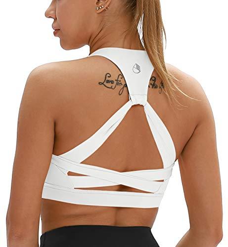 icyzone Damen Yoga Sport-BH mit Gepolstert Fitness Bustier Workout Running Bra (L, Weiß)