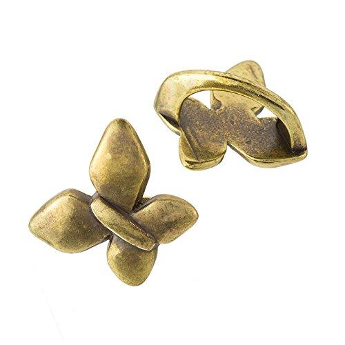 Anillos deslizantes de latón con diseño de mariposa para cordón Regaliz de 20 mm