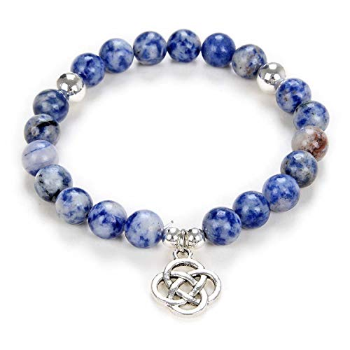 Yoga Beads Mala Bracelet Jewelry with Infinity Knot Celtic Charm for Men or Women (Blue Lace Agate)