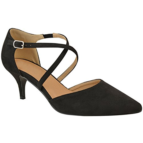 Fashion Thirsty Damen Pumps mit Kitten Heels & Riemen - Schwarz Veloursleder-Imitat - EUR 38