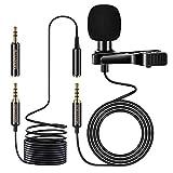 MOSOTECH Microfono de Solapa,3.5mm Profesional Condensador Lavalier Micrófono con 2m Cable de Extensión, Corbata Micro para Grabación Entrevista/Videoconferencia/Podcast/Youtuber/Phone