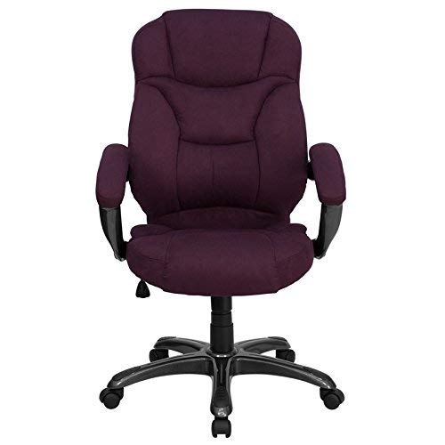 Flash Furniture High Back Grape Microfiber Contemporary Executive Swivel Ergonomic Office Chair with Arms, BIFMA Certified