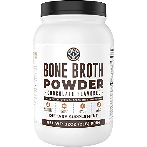 Bone Broth Protein Powder, Chocolate, Grass Fed 2lbs, 42 Servings 17g Protein, 13g Collagen. Low Carb, 2 net Carb, Dairy Free, Keto Friendly Bone Broth Protein Supplement with Collagen Types I & III