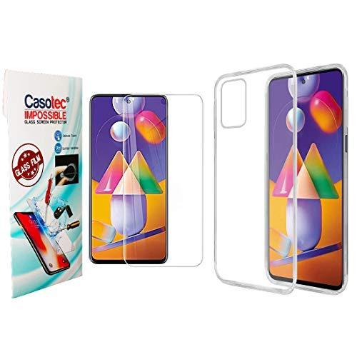 Casotec Combo Soft Clear TPU Back Case Cover with Hammer Proof Impossible Film Screen Protector [Not a Tempered Glass] Screen Guard for Samsung Galaxy M31s