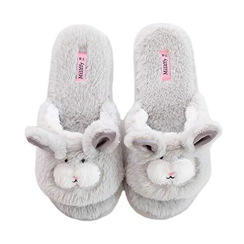 Pantuflas de Dedo Abierto para Mujer | Zapatillas de Conejo Lindas | Pantuflas de Perro Rosa borroso | Chanclas para Interior de casa, Gris (Gris), 39/40 EU