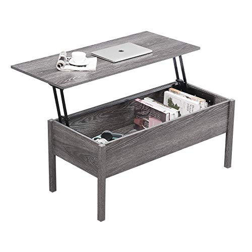 Drefure Modern Lift Top Coffee Table Desk with Hidden Storage Compartment for Living Room Reception, Light Grey Wood Grain
