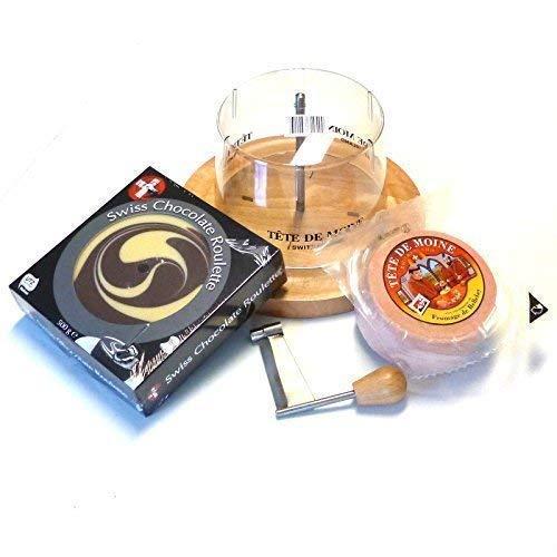 Tete de Moine Komplett Set Käsehobel (Set 1/2 Laib Classic+Choco Roulette Marbled)