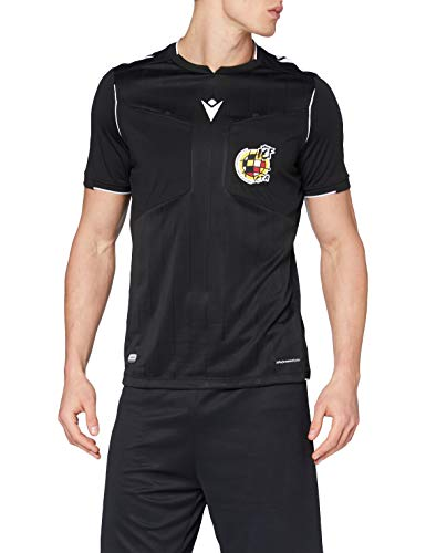 Macron Rfef 20 Match Day Man Shirt Referee SS Blk/Wht SR, Camiseta árbitro Negro Real Federación Española de Fútbol Hombre, Negro, M