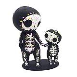 kjhgk A Set of Cute Sugar Skull Couple Statue Crafts Lovers Skull Figurine Set Halloween Decorations Romantic Gift Home Decor